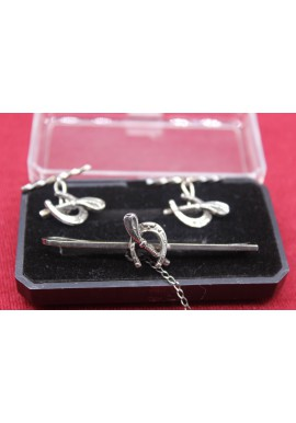 SILVER SET TIE PIN AND CUFFLINKS